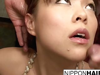 Big-titted Asian Teenage's Spunk Cascading Blowbang