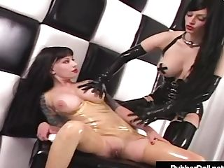 Big-boobed Rubber Doll Spanks & Strap On Dildo Fucks Rubber Painted Lady