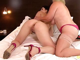 Oldnanny Matures Big-titted Lacey Entices Hot Lezzy