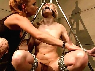 Ruined Platinum-blonde Whore Gets Crucified And Linked To Domination & Submission Construction