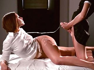 Mia Jacks Her Faux Manstick Off Until Danielle Ambles In - All Girl, Belt Cock, Feeldoe, Pantyhose, High-heeled Slippers, Nylon, Red-haired, Brune