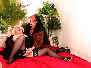 Two Exotic Mummies In Furs And Stockings Playing Roleplay Games